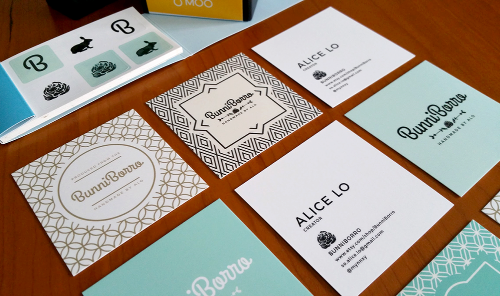 Brand Identity and Print Collateral for BunniBorro, my etsy store.