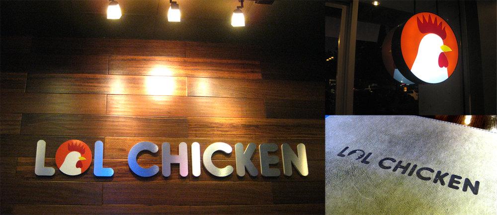 Brand Identity and signage for LOL Chicken, a korean fried chicken restaurant.