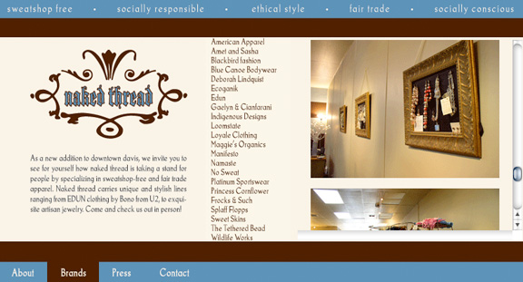 Web design and Print for Naked Thread, a fair trade apparel store
