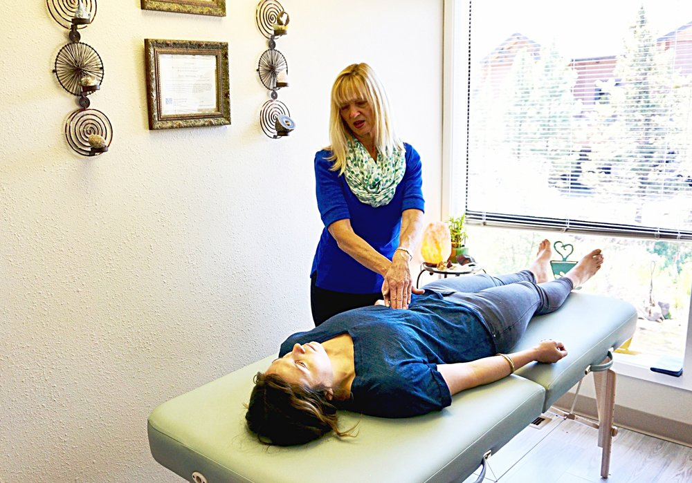 - At left, Sandy is looking for inflammation or nutritional deficiencies by using a functional exam technique of palpating the large intestine.