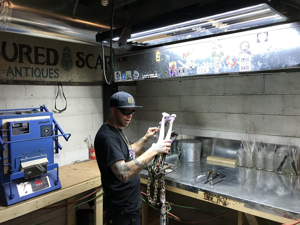 Tyson working on a new piece in the official Dicronix glass studio