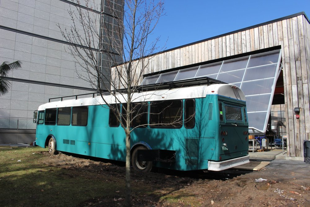 Here you can see our solar panels on the rear half of the roof rack.