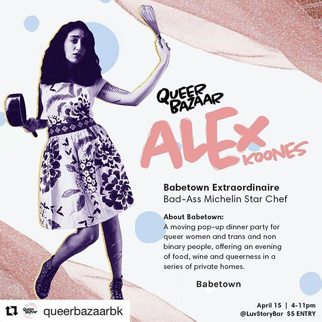 Oh my G there is me in this super cute promo made by the creative minds behind @queerbazaarbk where I will be grilling honey & spices #chicken and tossing vegetables in #tahini. It should be a day as adorable as this graphic. Check them out and hope to see you babes there! ❤️💋🍗
