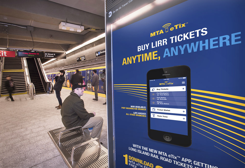 MTA eTix billboard. The app allows customers to buy and download tickets on their mobile devices.