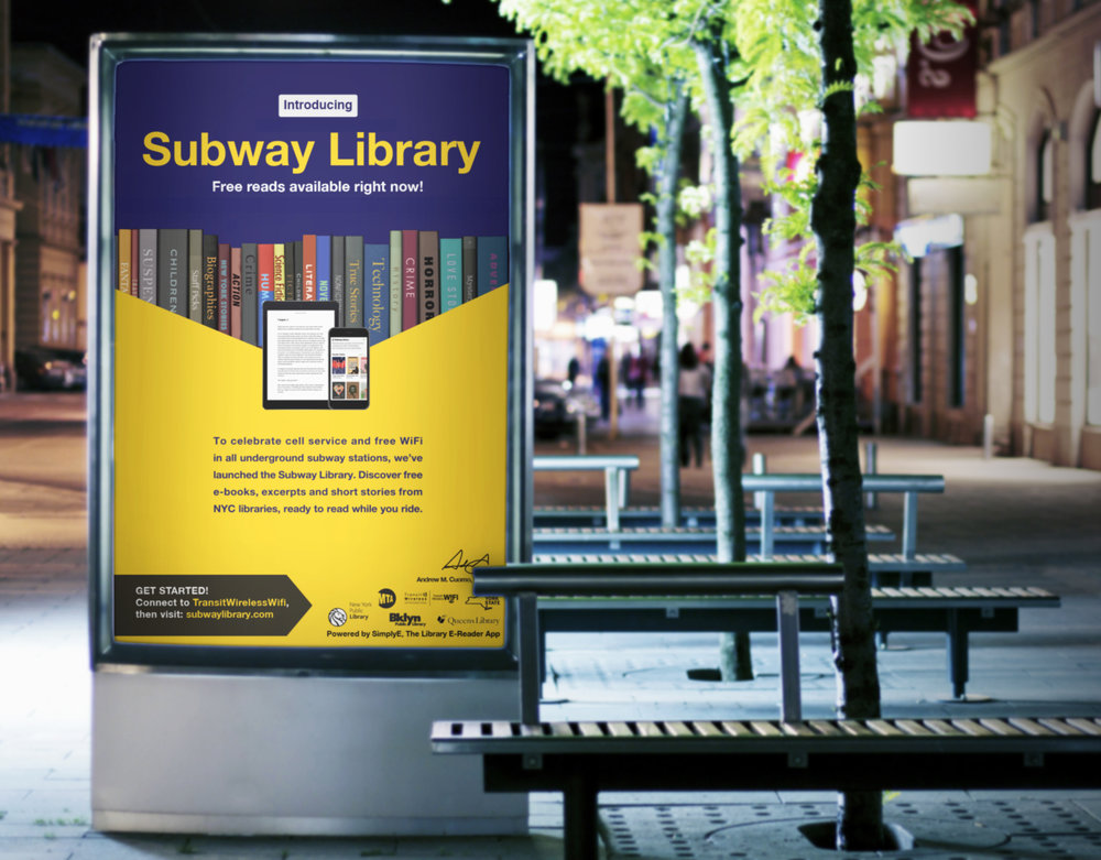 The Subway is partnering with the New York Public Library. Riders can download free books on their phones and tablets while at the stations, for free. Posters, billboards and digital ads are running.