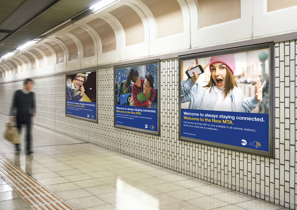 MTA billboards decorate the station walls as a soft launch for free cell service and WiFi in all subway stations.