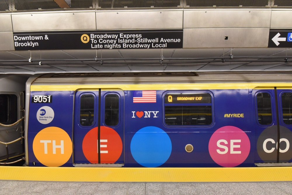 Second Avenue Subway Opening. Train Wrap Design: Lizzy Margiotta. Photo Credit: 6sqft.com