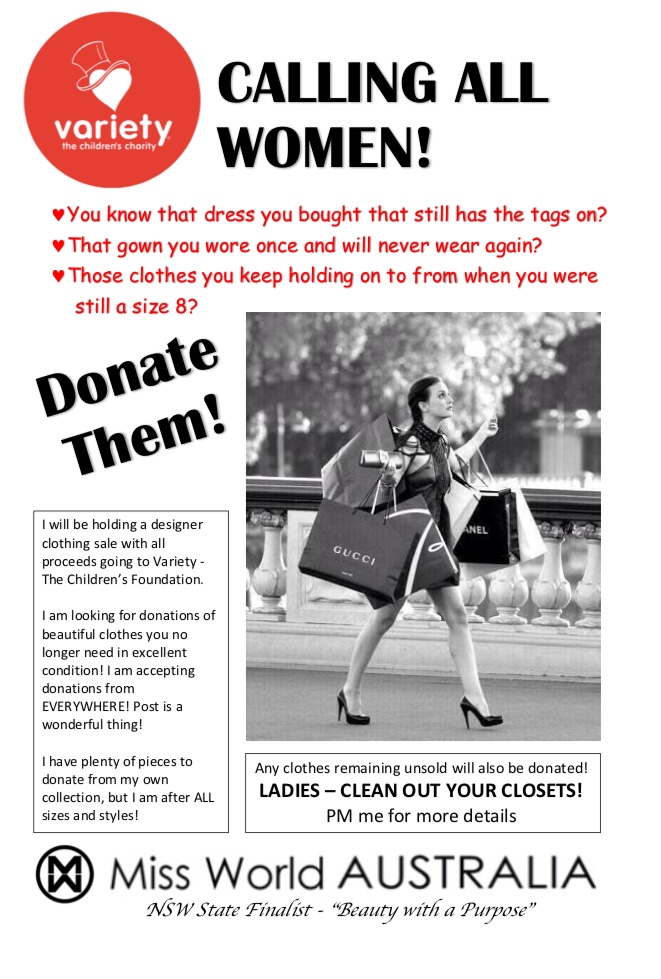 Please contact me if you have any clothing to donate so I can start organising the sale!