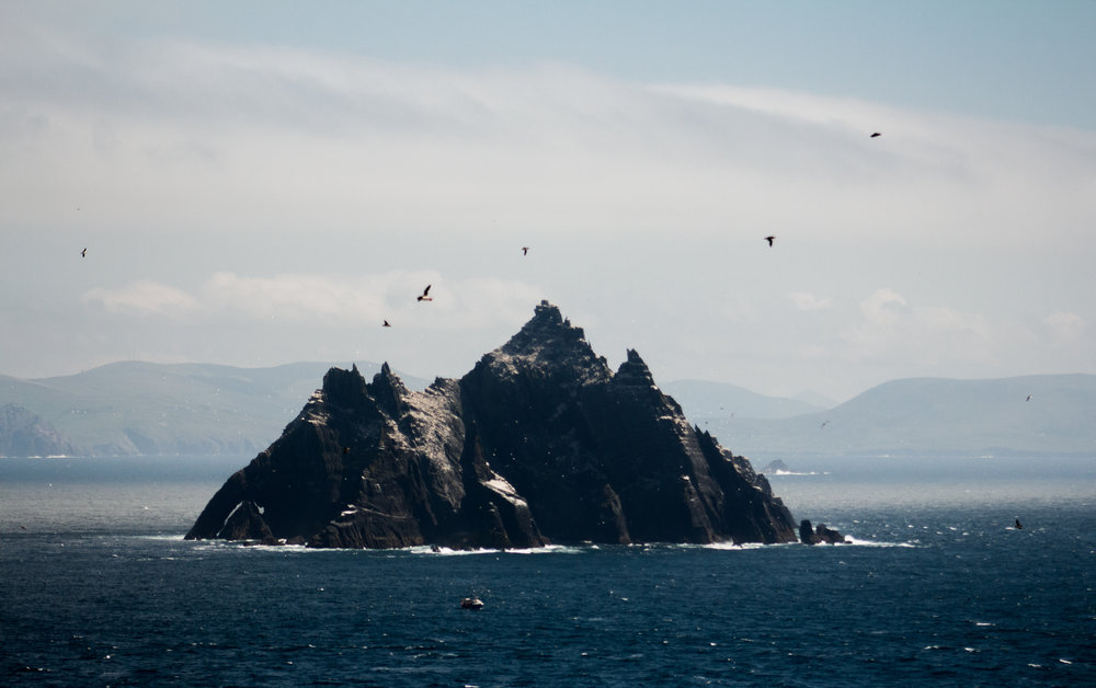 Little Skellig, home to hundreds of different species of birds, seen from Skellig Michael.