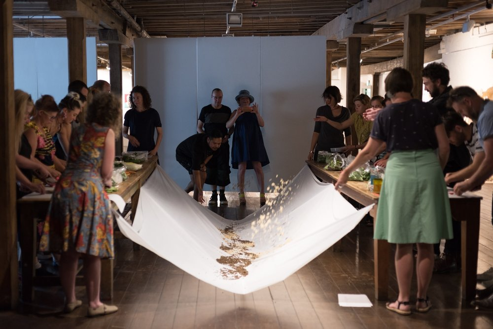Image: 'Food for the Senses' with Provocateur Deb Pollard and Jo Cook. Arts Lab 2016, Long Gallery, Salamanca Arts Centre. Photographer: Lucy Parakhina.