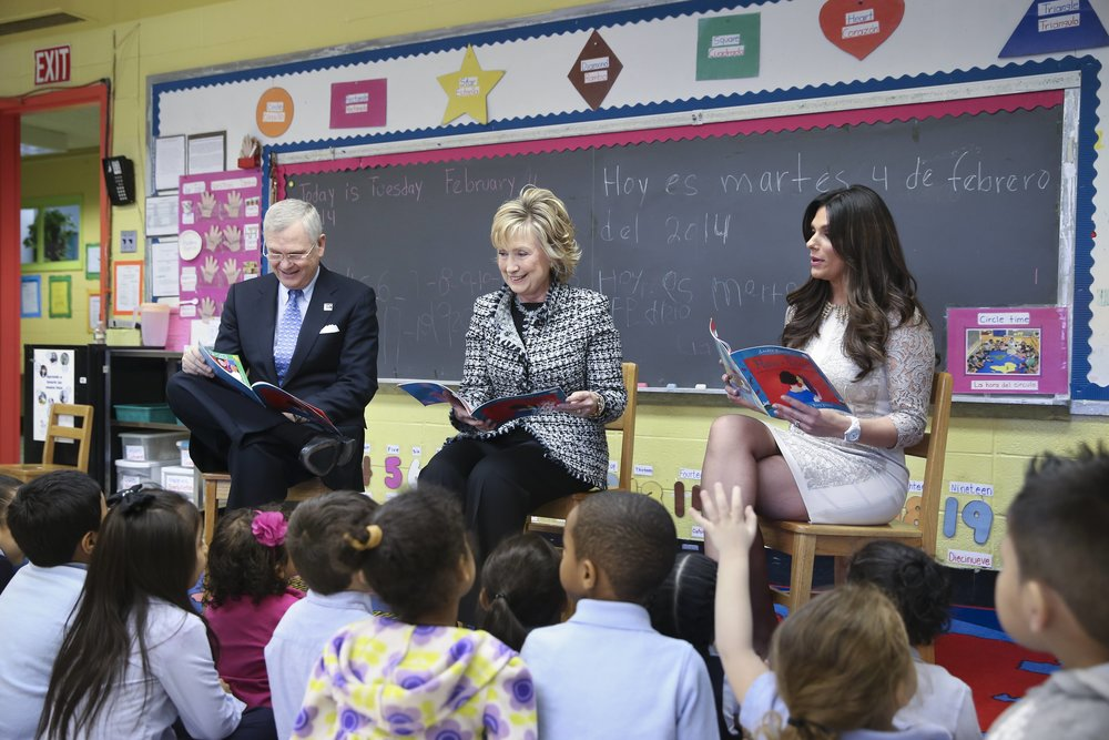 Univision Communications' president and CEO Randy Falco, Former Secretary of State Hillary Rodham Clinton, and Univision News' Barbara Bermudo kick off Univision and Too Small to Fail's  Pequenos y Valiosos  campaign to decrease the word gap among Hispanic children.