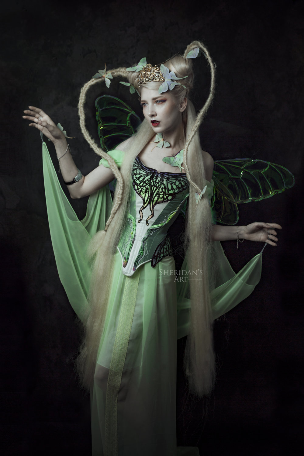 "From a massive collab I've done for my ""Moth Girl"" series: I shot the Lunar Moth corset before in a collab with Rainbow Curve Corsetry. I saved up a long time to buy it finally (in a payment plan of 2 payments though). The wings I've bought for a workshop & the designer HelloFaerie sponsored me a second set. It was her decision because she liked my work. I bought wings again. She made some for this project. Her decision too. Collaborations are a win-win and I'm not afraid to buy a piece if I think it will be great for my wardrobe. I'm a business after all; so that means I need to make investments too. It's all about balancing and respecting the boundaries of your fellow creatives."