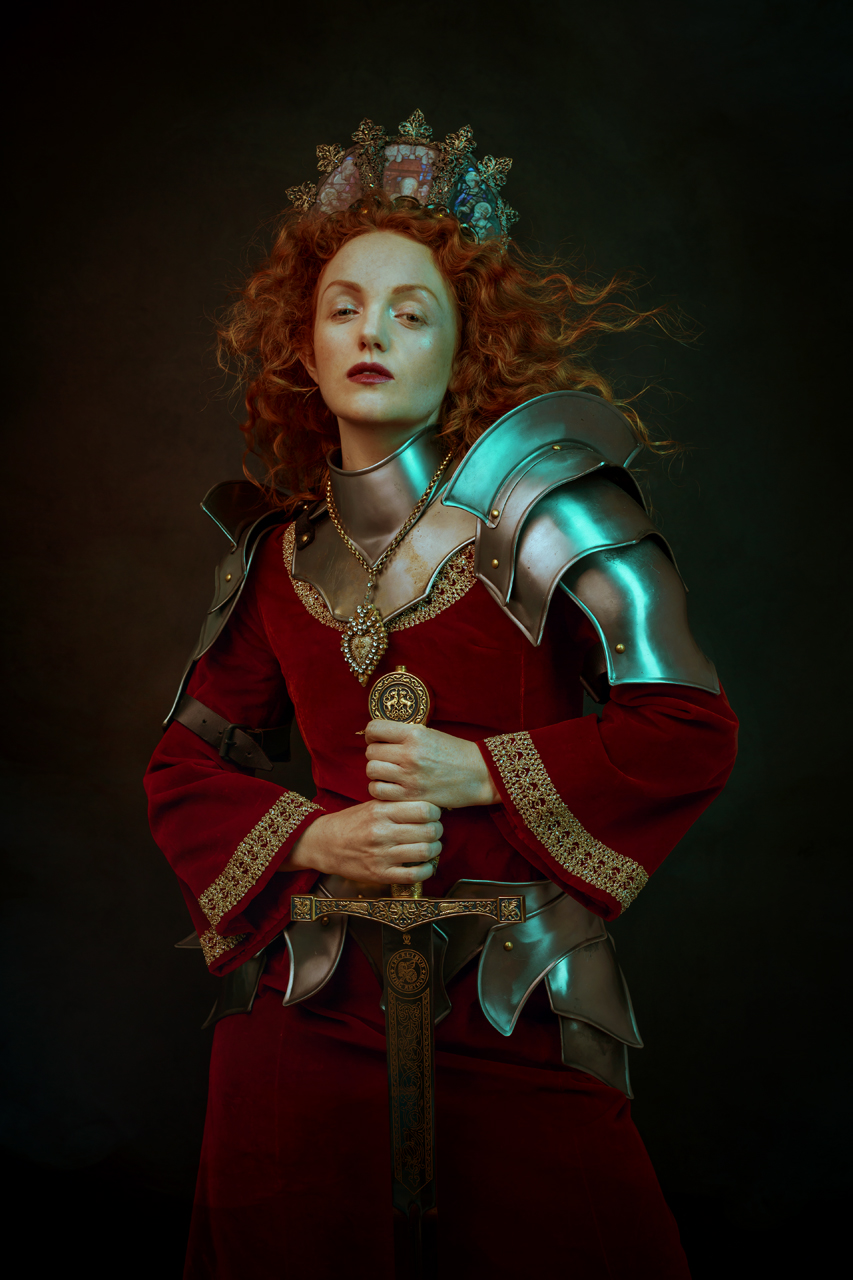 "The beautiful Ivory Flame modeling for me (Sheridan's Art) for my series ""Arcadia"" - dressed up in armor by Mytholon, a gorgeous necklace by Madonna Enchaned & a halo by Hysteria Machine."