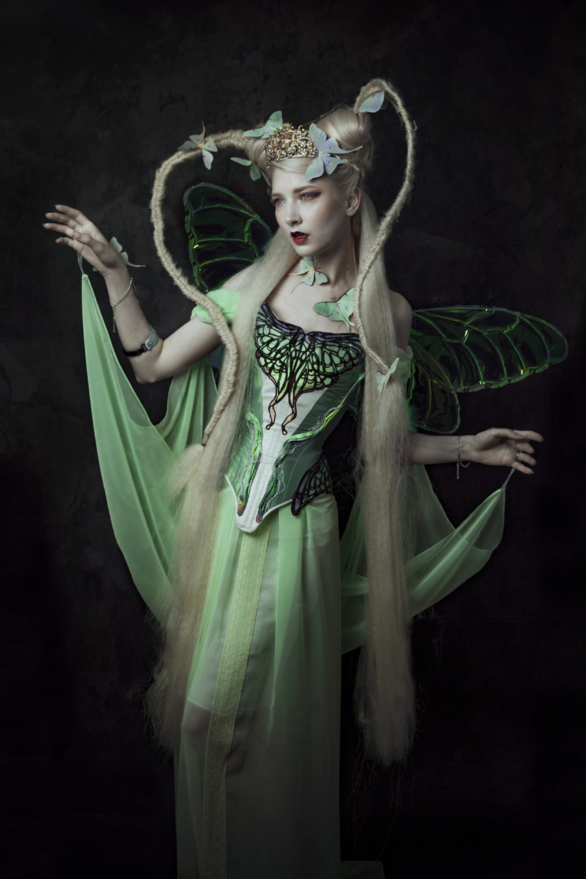 """Now this was me second most expensive purchase: I bought the """"Lunar Moth"""" corset + matching dress for Rainbow Curve Corsetry. I set up a payment plan for it as it was ... very expensive (almost 4 digits). But its handmade, its incredibly stunning & I have 0 regrets! There goes nothing above offering my clients these pieces to wear and to support my artistic industry in more ways than just promoting a friend with some pretty pictures. I bought a lot more handmade already since then and I'm almost entirely moving to second hand only AND handmade to build my wardrobe."""