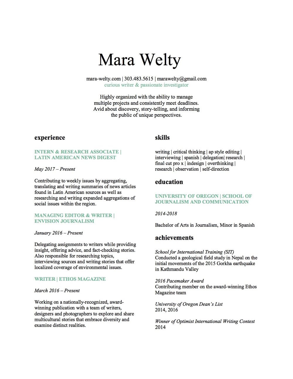 Resume Mara Welty