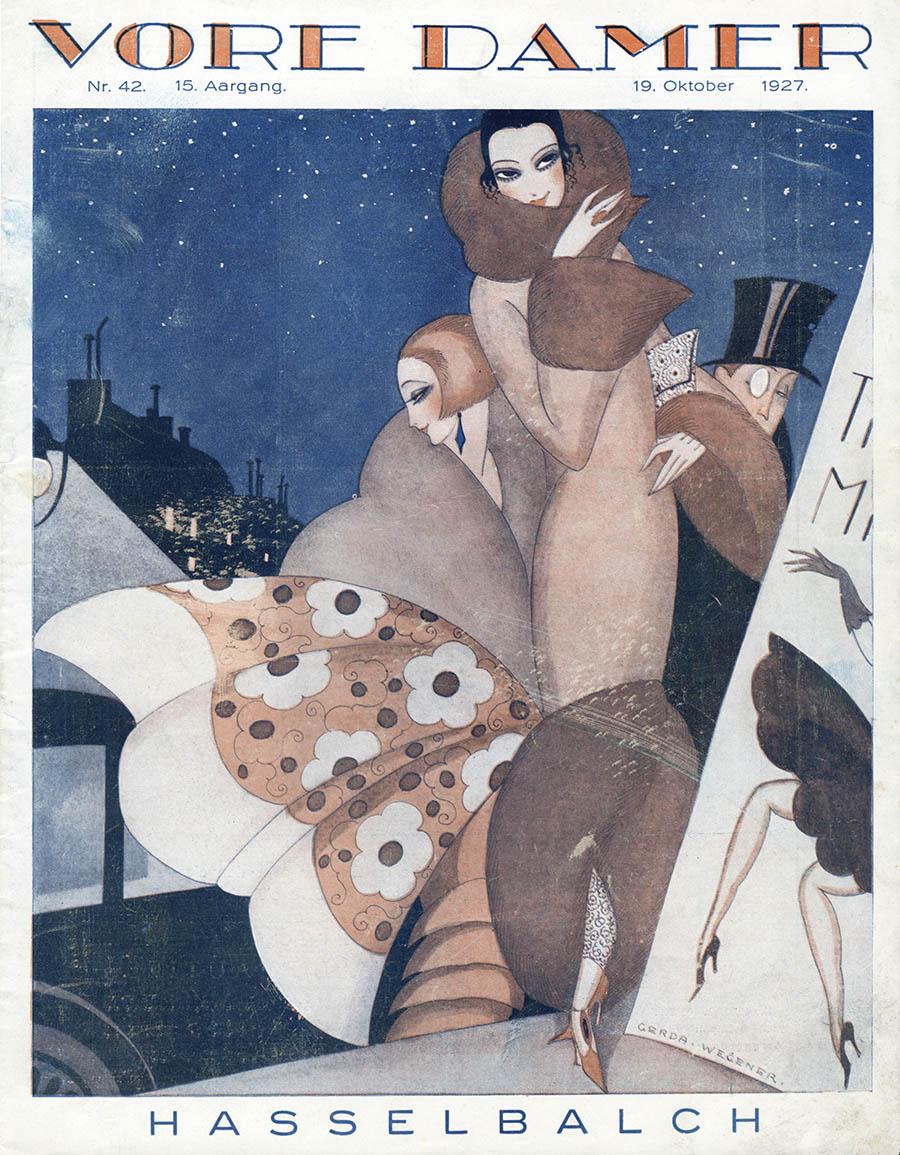 Forsideillustration af Gerda Wegener til Vore Damer, 19. oktober, 1927