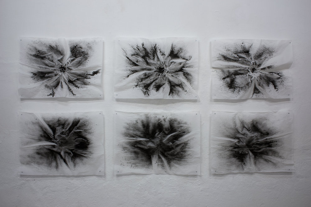 Black Hole/Dark Matter 1-6, lava on silk paper (25 gr.), each 66 x 90 cm, 2017