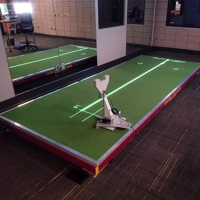 The newest #perfectionplatforms putting green has taken shape. This automated design is now readily available at @thebirdasu for the Men's & Womens Golf Teams at Arizona State University. This also features SAM PuttLab 6 & @puttview through a custom designed network integration control panel available through @gibbigans_island at #rggconsulting⛳