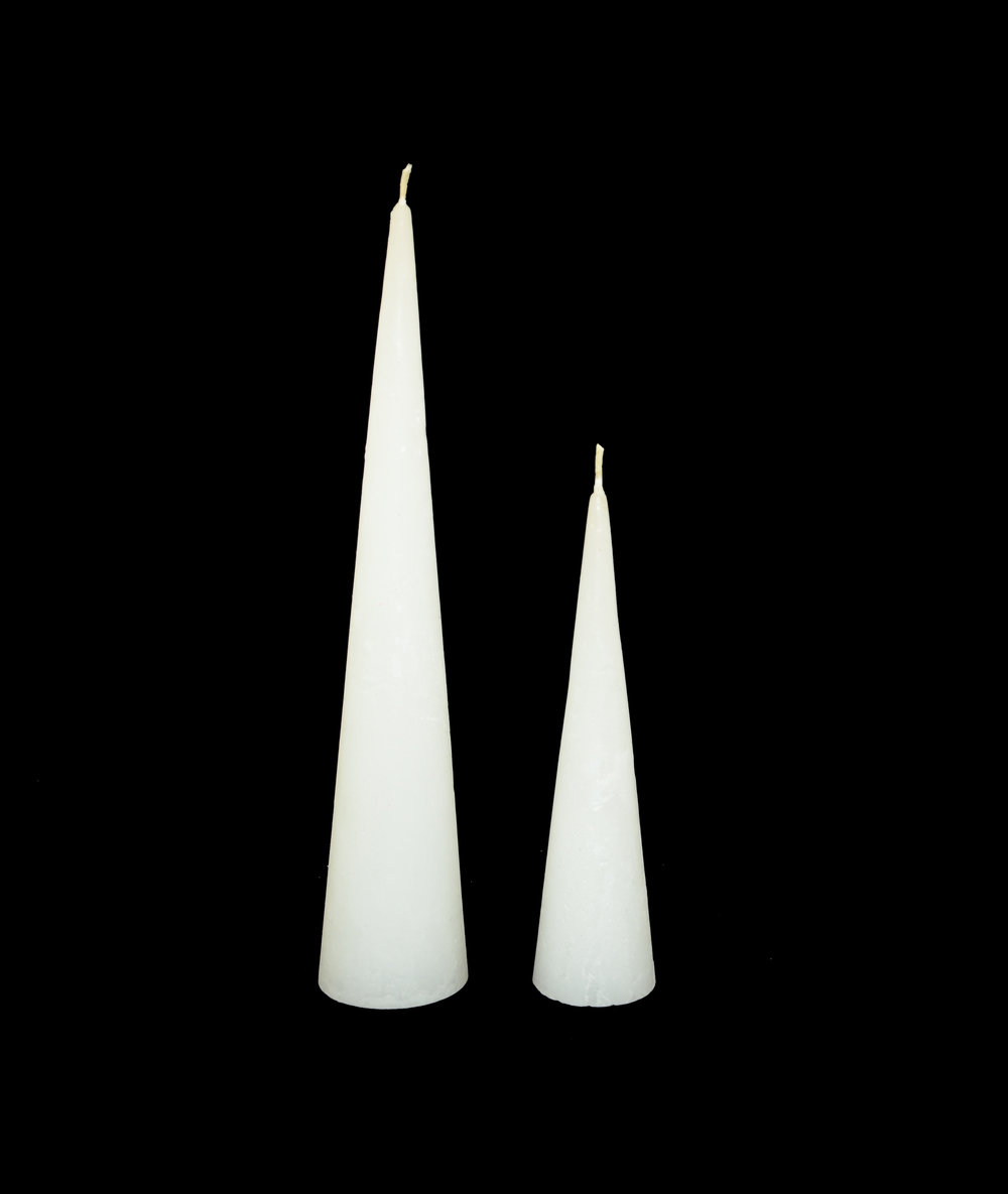 PLAIN FROST CONE CANDLES