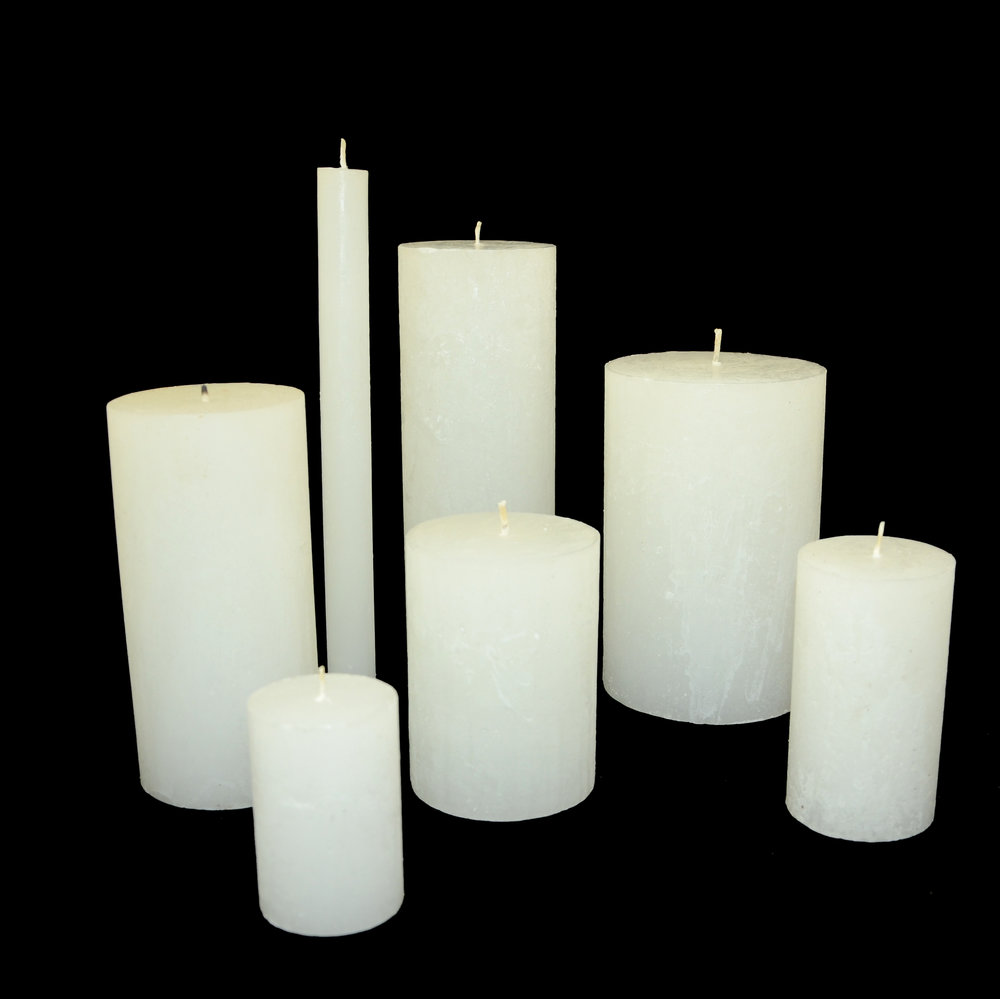 PLAIN FROST DINNER & PILLAR CANDLES