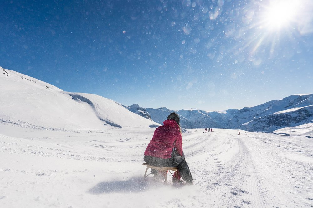 Adventures from Loen Skylift - Go sledding, try snowshoe hiking or walk in prepared tracks with views of the fjord landscape.