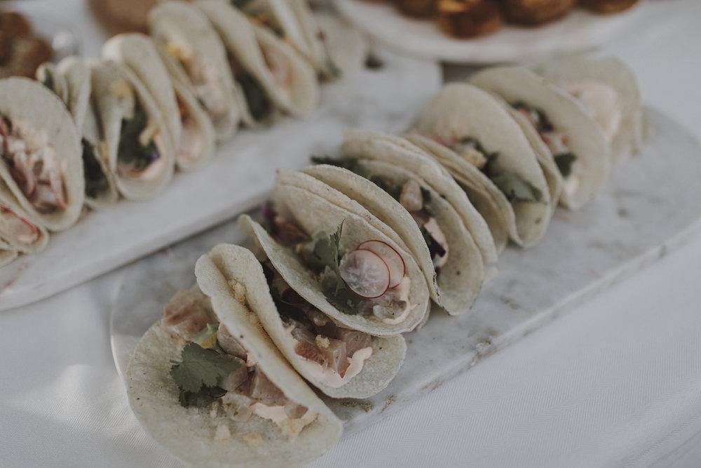 Hiramasa Kingfish, Radish, Puffed Rice, Taco