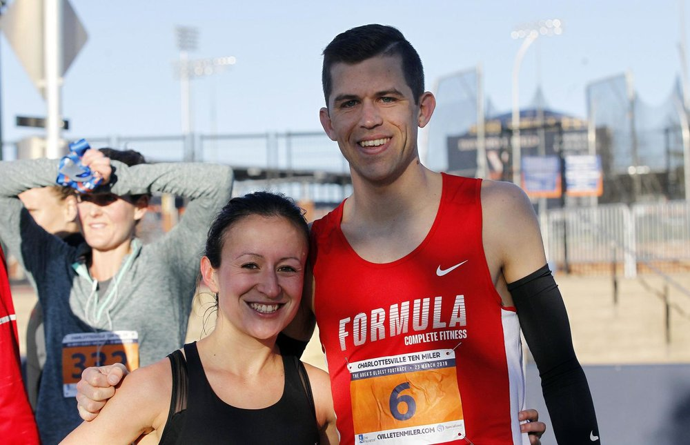 Pat and Brittany, Oklahoma alums, top male/female overall at this year's 10 miler, roommates. (Photo credit: M.A.C. Shurtleff for the Daily Progress)