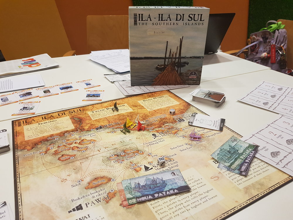 The Boka di Stori team first met as members of Kodrah Kristang, an initiative to revive the Kristang language. Pictured here is  Ila-Ila-Di-Sul,  a bilingual board game designed by Kodrah Kristang.