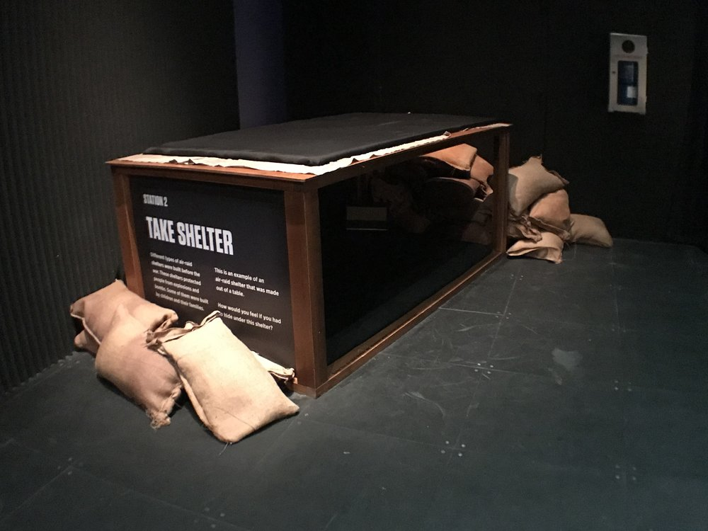 Makeshift air-raid shelter for visitors to explore