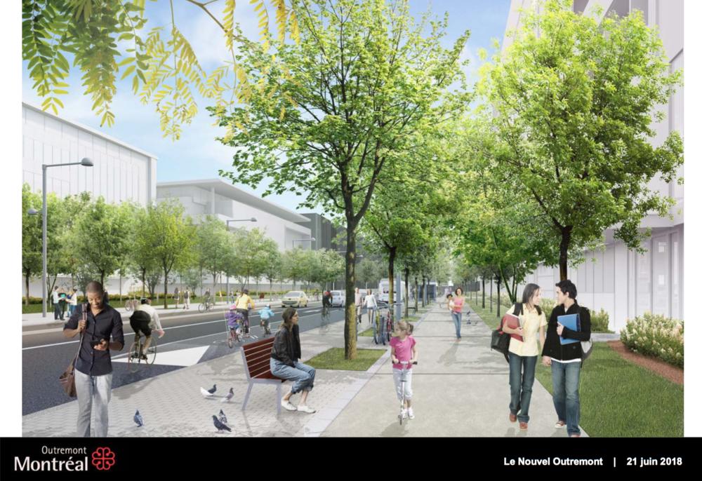 The planned street design in the new Outremont campus development in Montréal (Ville de Montréal).