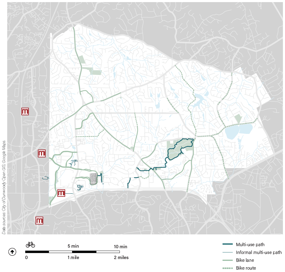 Existing segments of bicycle infrastructure in Dunwoody are isolated and fragmented.