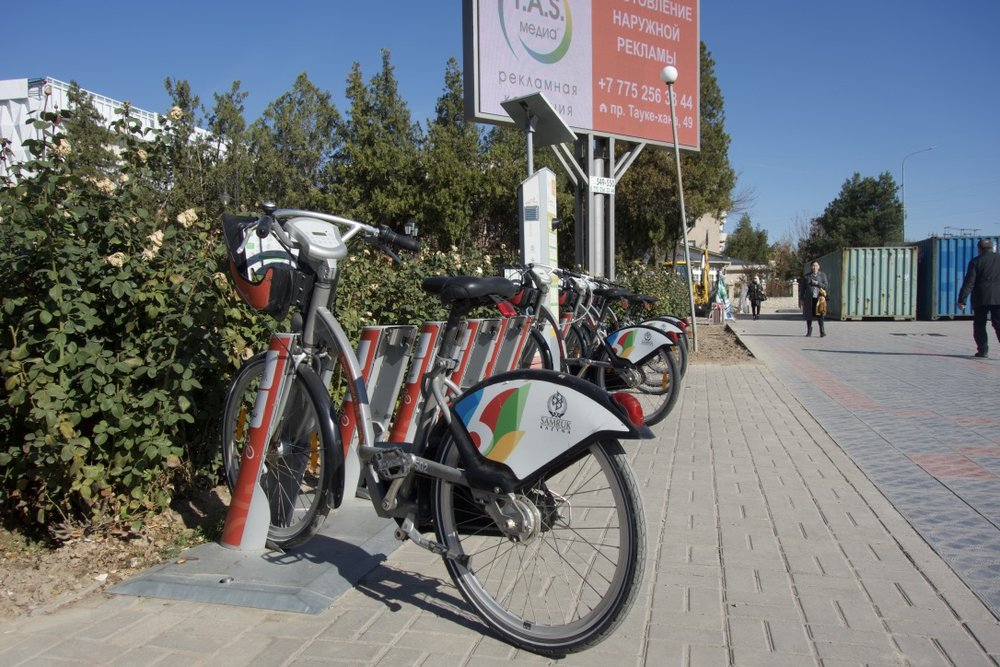 Shymkent Bike, the City's bike share system, is a common sight in the city centre.