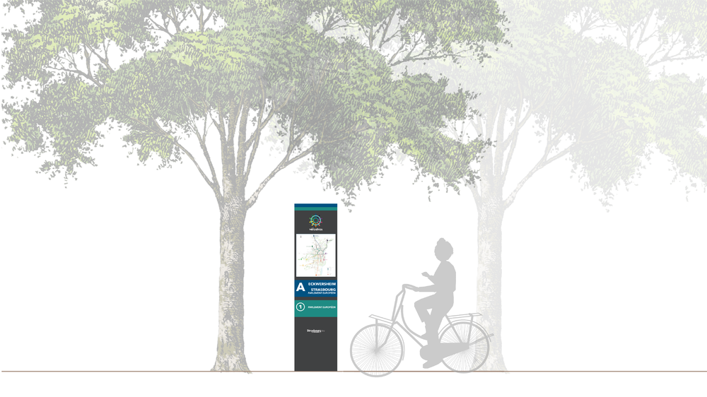 Wayfinding totems with maps orient users to key routes, destinations, and amenities.