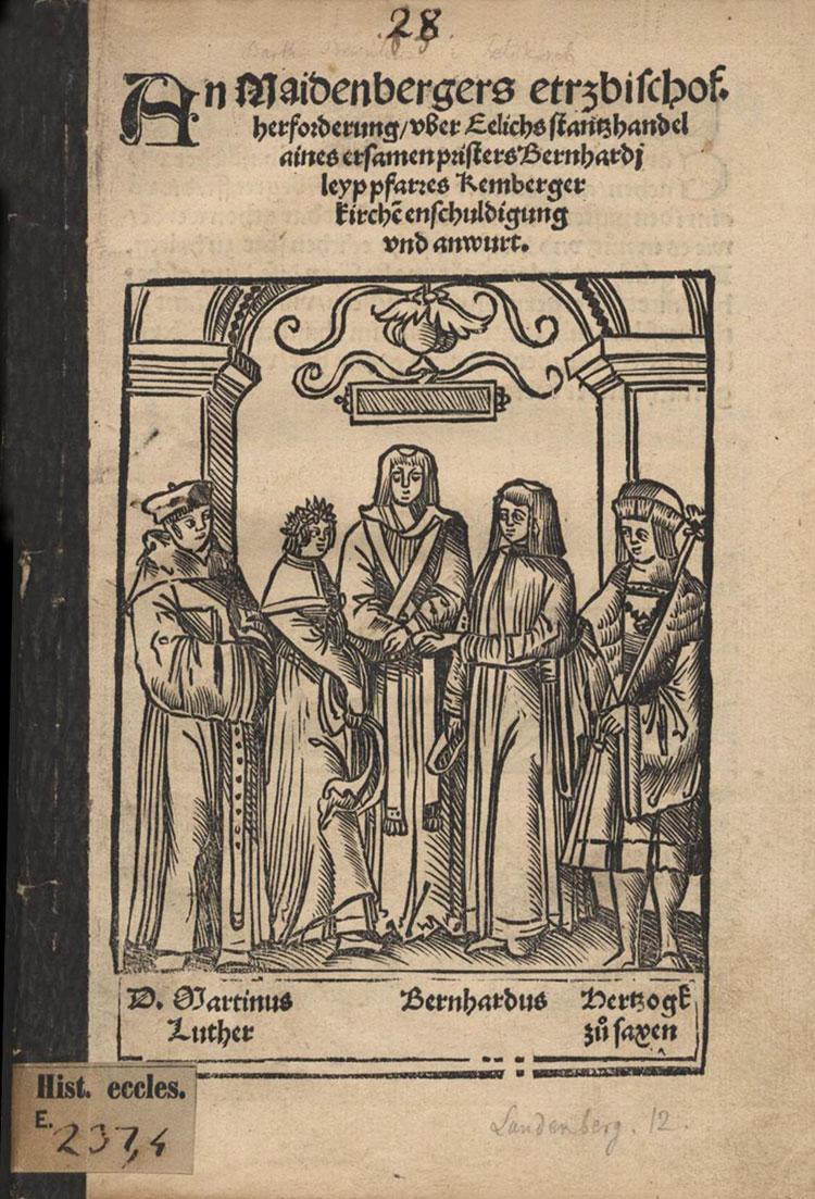 Darstellung der Hochzeit des Priesters und Reformators Bartholomäus Bernhardi 1521. Freilich waren weder Luther noch der Herzog von Sachsen anwesend. 14