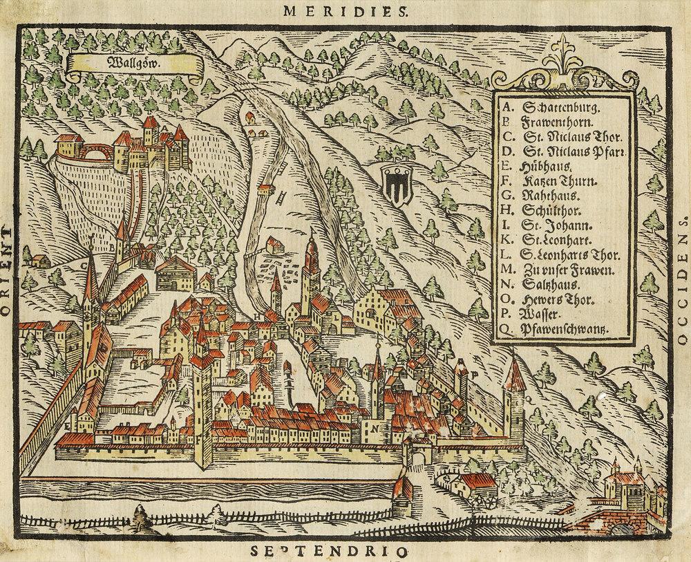 Stadtansicht Feldkirch aus Sebastian Münsters Kosmosgraphie (ca. 1550), kolorierter Holzschnitt 18