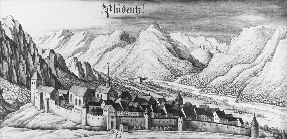 Ansicht von Bludenz, Stich von Matthäus Merian, ca. 1650 40
