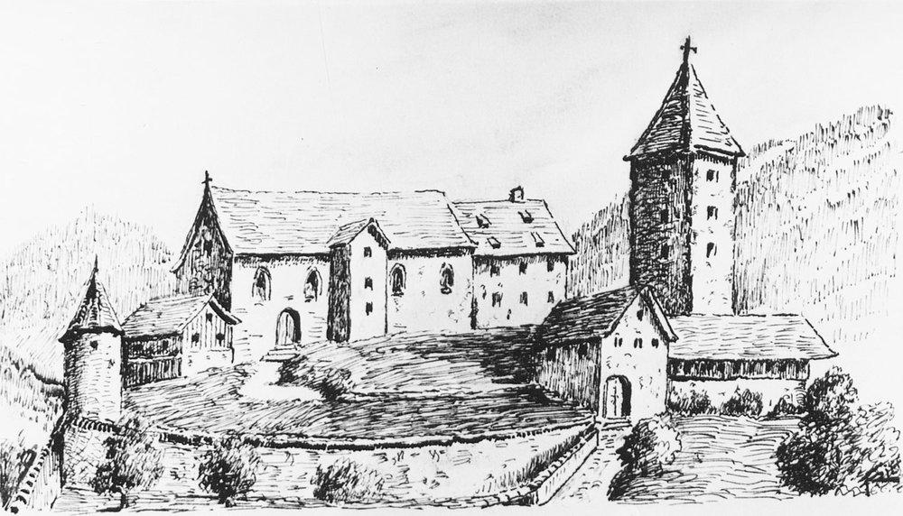 Alte Burg von Bludenz mit der Pfarrkirche nach einem Gemälde vom Brand der Stadt im Jahre 1638 41