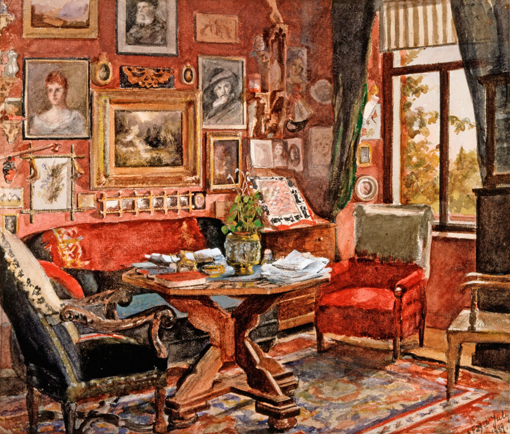 Innenraum von Schloß Babenwohl, Zeichnung Freiherr von Poellnitz, um 1860 46