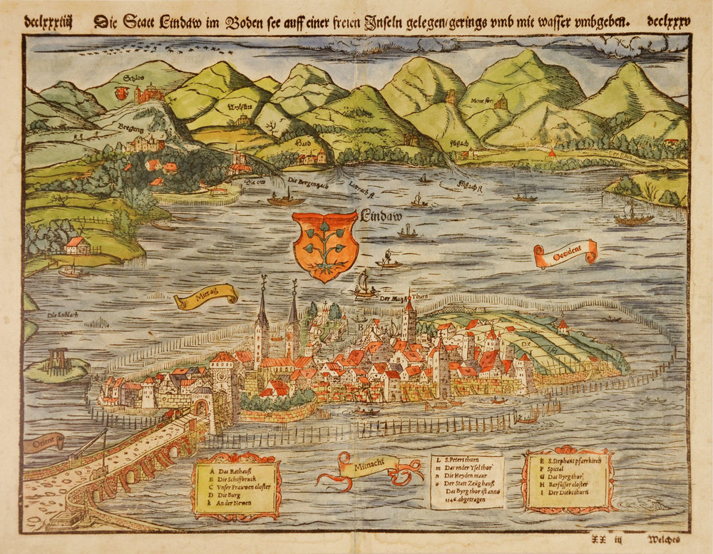 Lindauer Stadtansicht aus Sebastian Münsters Kosmographie. In allen Auflagen zwischen 1550 und 1628 erschienen. 27