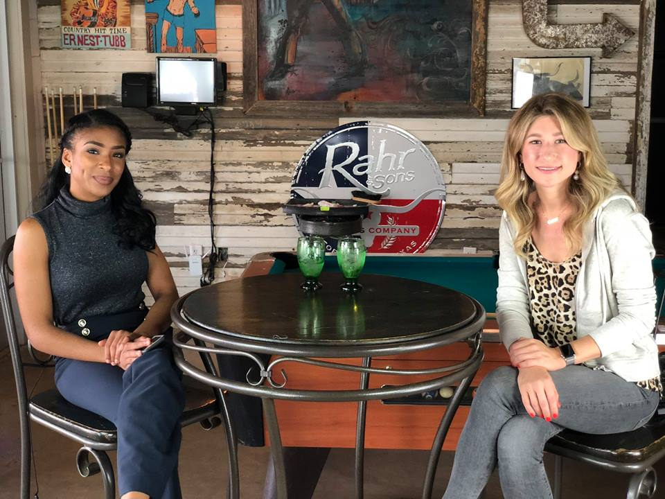 BKS' Olivia Thomas with Carmen, a Fort Worth Photographer discussing the entrepreneur scene in Fort Worth