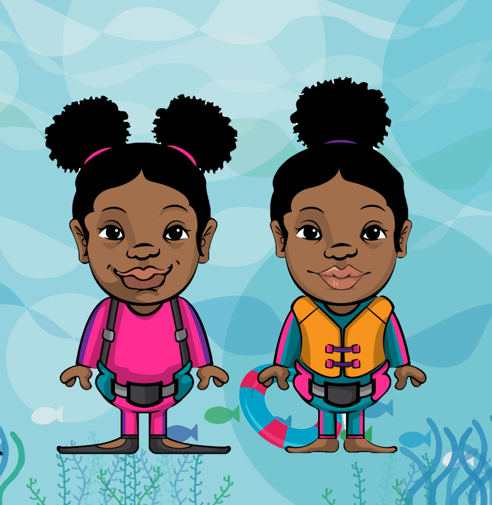 Sneu & Symon - Hi! We're Sneu (pink) and Symon (yellow), the youth avatar ambassadors for Black Girls Dive Foundation! We are here to share one of the many great things we are doing this summer - READING!!