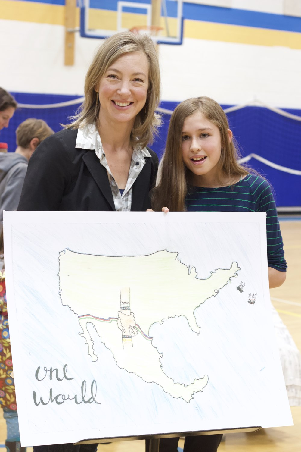 A Jackson Hole Middle School 6th grader, Elizabeth Prince's artwork, One World, won a $100 donation to the non-profit of her choice. Her gift to One22 is one of the first towards the Nunn Challenge Grant.