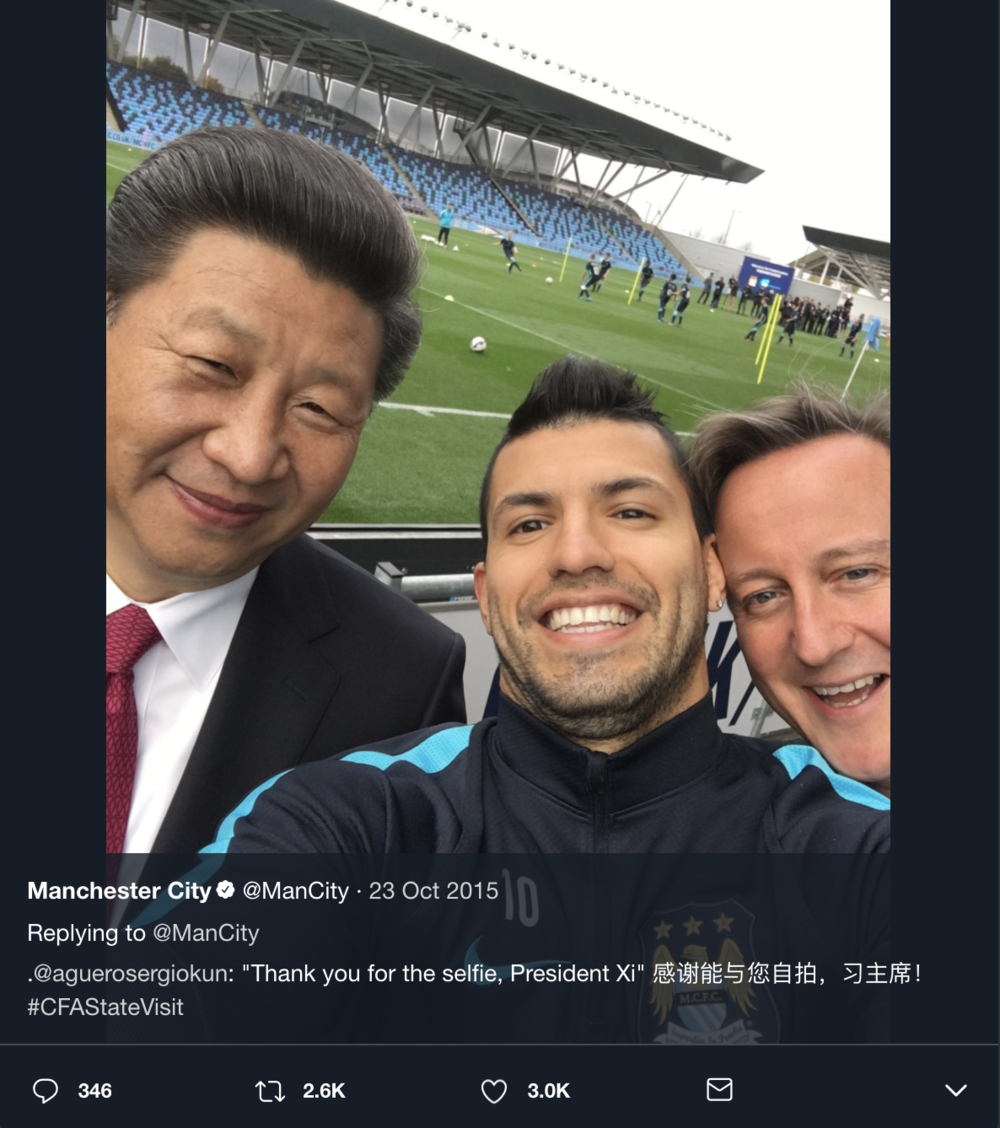 A selfie of Xi Jinping and Sergio Aguero with ex-British Prime Minister David Cameron weasling his way in.