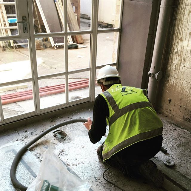 Zanetti terrazzo floor specialists, on site restoring the floors. It was a loo and it's going to be the lounge! #bristol #hostel #heritage #ymca #hlf @johnperkinsconstruction @heritagelotteryfund