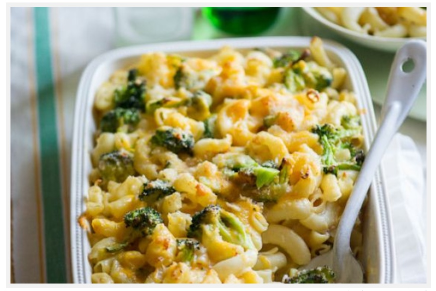Mac and Cheese Bake w/ Roasted Garlic Broccoli