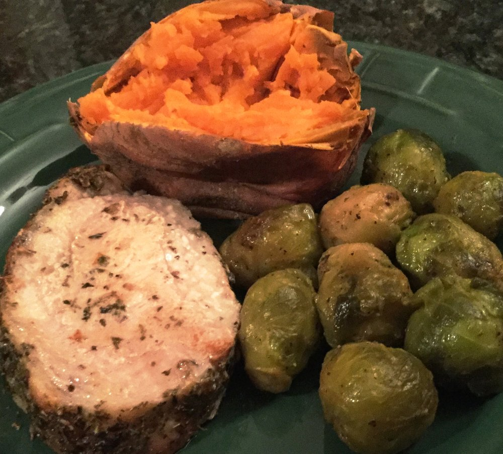 Turkey Meatloaf, Brussel Sprouts and Roast Sweet Potatoes