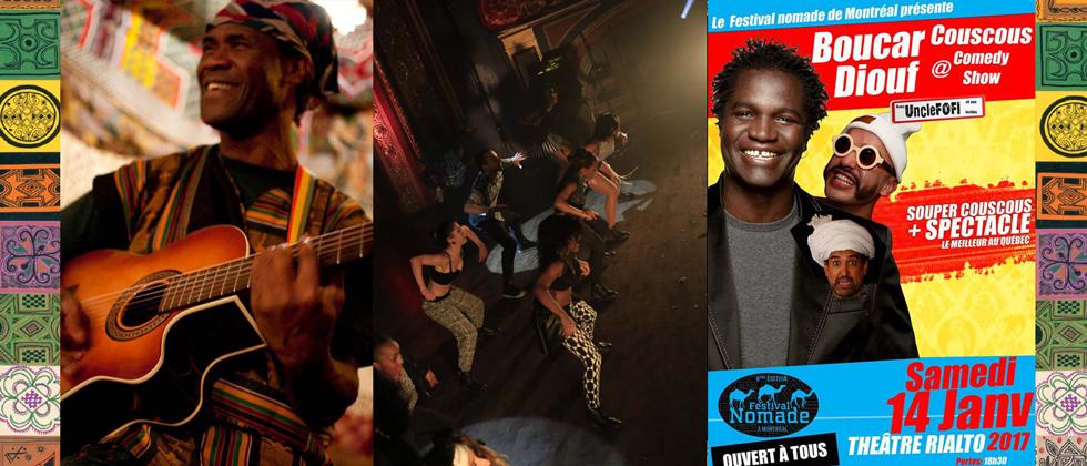 2017 - Qui peut oublier une si grande édition du Festival nomade ?L'immense Boucar Diouf est présent, ainsi que le Couscous Comedy Show, toujours à son meilleur avec UncleFOFI et sa bande. Des brunchs nomades accompagnent de nombreuses rencontres sur la souveraineté alimentaire et la santé, la gastronomie nomade de Mauritanie, la mobilité durable, les jeux nomades, les savoirs ancestraux, et l'épineuse question des mines et des nomades.Sous les étoiles lumineuses, là où se dresse la khaïma (la tente nomade), c'est le moment d'écouter les voix des poètes et slameurs Mél Bué, Charlinio, AbdelSlam, David et Mohamed. Le Cinéma sous la tente est, lui aussi, de retour avec des projections de films rares qui approfondissent le voyage physique et spirituel.Dans une ambiance riche en saveur, le souper spectacle invite à voyager à travers les délices de la vie au rythme les guitaristes et parleurs de Paroles Egales, les amis du festival, ceux qui sont là depuis le début : Catherine Ego et Arturo Parra.Enfin, le Festival nomade clôture cette édition avec l'inoubliable Nuit bleue. Lors de cette soirée musicale tellement remplie de chaleur, Daby Touré nous fait danser sur son afro-pop, Tamar Ilana nous envoûte avec son flamenco, Stephen Fuller nous enchante avec sa kora et Amlil Gnawa nous emmène à Essaouira au Maroc, berceau de la musique traditionnelle gnawa. En plus, le chanteur sénégalais Ilam et Nedjim Bouizzoul du groupe Labess nous rejoignent sur scène. Chaleur et dépaysement assurés !Le Festival nomade permet aussi à tous ses amis de contribuer volontairement au projet de la Route de l'Acacia, projet de route verte en Mauritanie appuyé par la Fondation La Khaïma.
