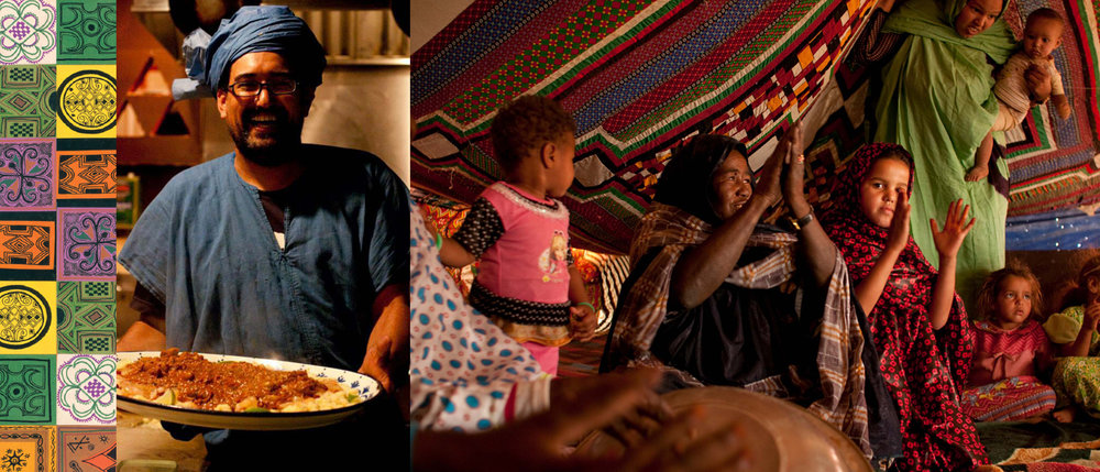 2013 - Cette année, le Festival nomade rend hommage à un festival de culture nomade extrêmement réputé: le Festival au désert de Tombouctou. Tombouctou souffre de l'occupation djihadiste et le Festival nomade ne peut qu'être solidaire avec ses sœurs et ses frères.A Montréal, les festivaliers célèbrent la vie lors d'une soirée musicale haute en couleur avec, entre autres invités, Aboulaye Koné Bolo Kan, Gotta Lago, Kullak Viger-Rojas, Soley Rara, Amrita Choudhury et Kattam Tam.En plus d'ateliers d'initiation et de méditation, de vernissages, d'une conférence, sur les nomades, d'un brunch flamenco et d'un brunch bédouin, les festivaliers se régalent de couscous et d'humour pendant le Couscous Comedy Nomadic Show où UncleFOFI et sa bande s'en donnent à cœur joie.Il ne faut pas oublier le Cinéma nomade, cette journée qui réunit les cinéphiles pour des œuvres qui racontent la vie des nomades.Le Festival appuie aussi la Caravane des artistes pour la Paix et l'Unité et soutient l'association Al Hawa de Mauritanie qui reçoit les caravaniers. Merci à Brahim Cheik Ahmed, son président, qui assure le relais dans le Sahara mauritanien.Pendant ce temps, plusieurs Japonais quittent leur pays pour parcourir la planète. Atigh, le responsable du Festival, et ses amis Keiyo Lan, Junko Chiba et Andrew Funamoto visitent la région de l'Adrar et goûtent aux traditions de la vie nomade dans des lieux comme Maddah et Tenemrourt.