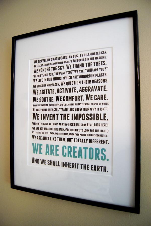 Manifesto framed