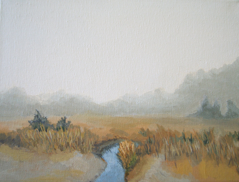 """Salt Marsh,"" acrylic on canvas, 8""x10"" (collection of the artist) 2015"